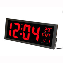 LED Digital Wall Clock with Indoor Temperature Date Week Summer Time and Fold Out Stand