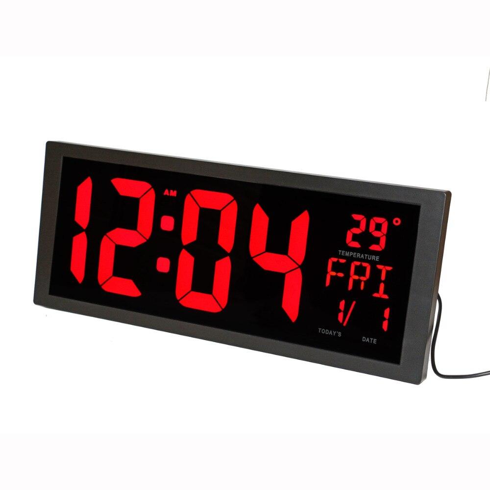 LED Numérique Horloge Murale avec La Température Intérieure Date Semaine L'heure D'été et Support Pliable Moderne Décoration de La Maison