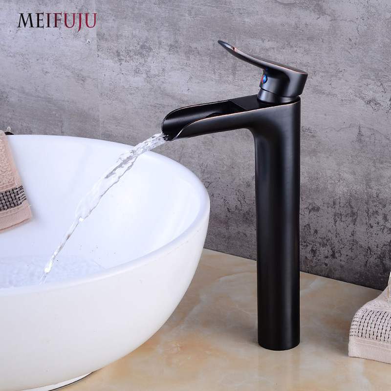 купить Waterfall Tall Bathroom Faucet Oil Rubbed Bronze Black Basin Faucet Bathroom Faucets Sink Water Mixer Tap Brushed Nickel Finish по цене 3372 рублей