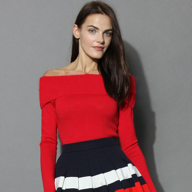Red off the shoulder tops for women Retro Style black tight tops ...