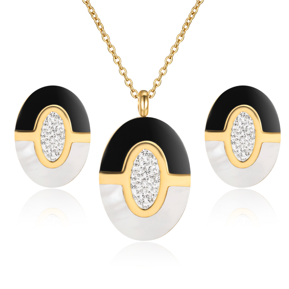 Wedding Bridal Crystal Jewelry Sets Of Necklaces Earrings Costume Stainless  Steel Jewelery Cheap Black Jewelry Sets