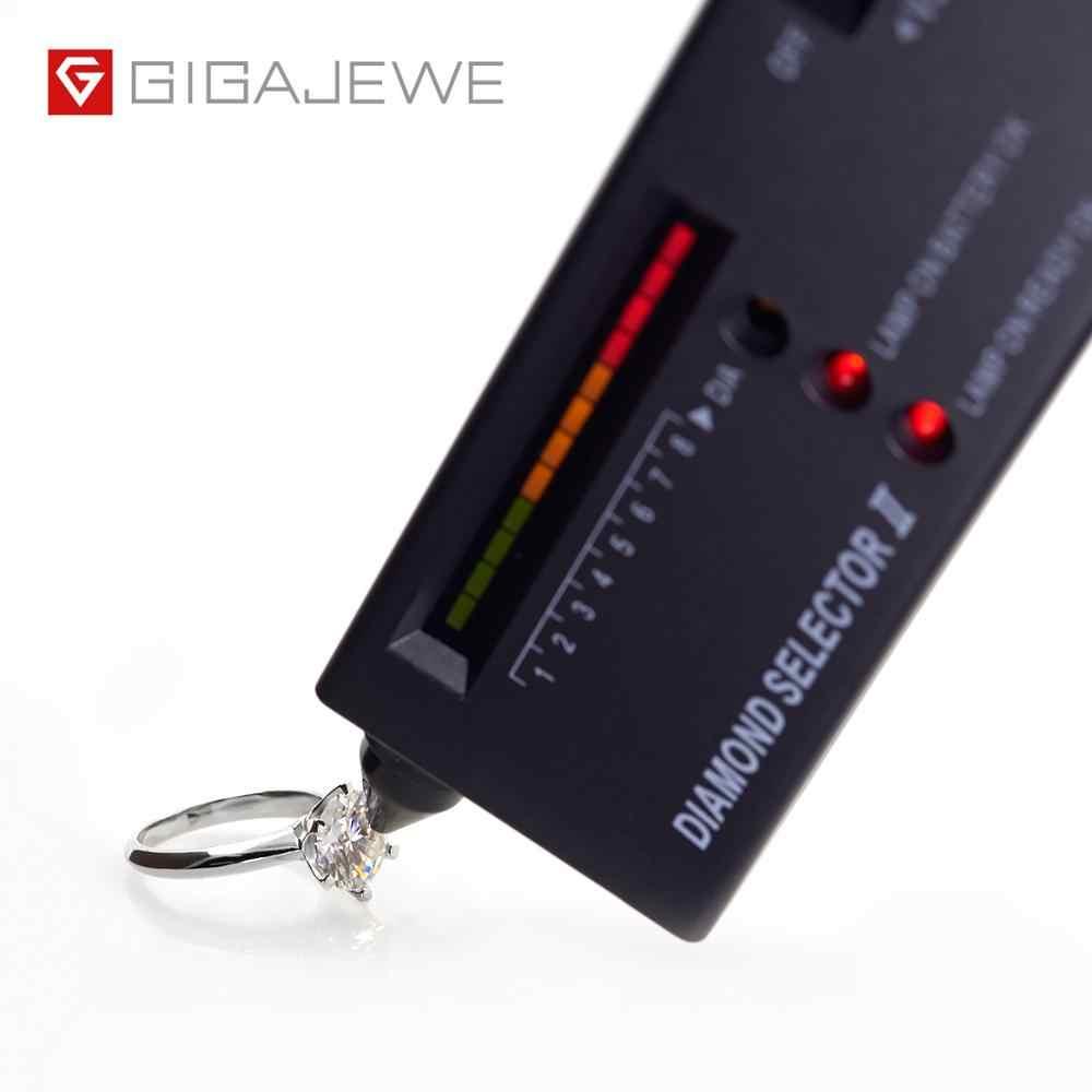 GIGAJEWE 3.0ct 9.0mm EF yuvarlak 18K beyaz altın kaplama 925 gümüş Moissanite pırlanta yüzük testi geçti takı kadın kız arkadaşı hediye