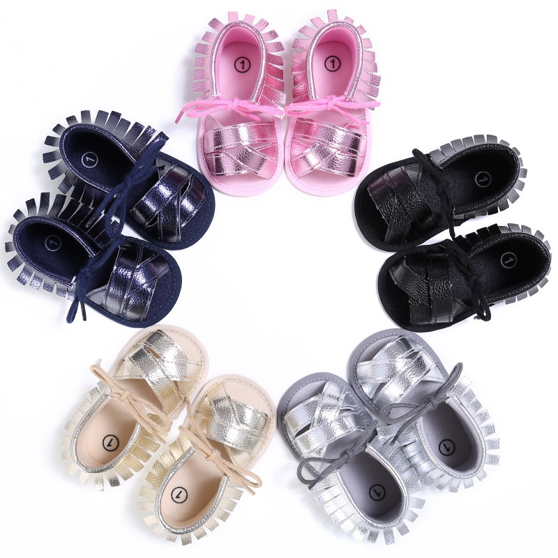 Raise Young Summer PU Leather Baby Girl Sandals Soft Soles Fringe Solid Toddler Girl Shoes Newborn Infant Moccasins 0-18M