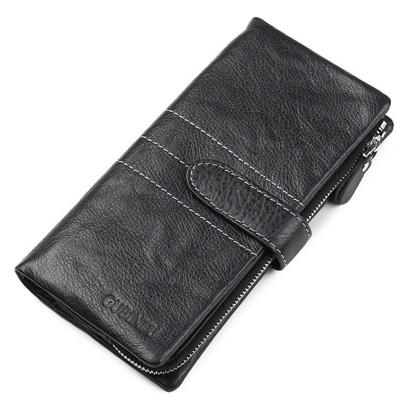 Brand Genuine Cow Leather Long Clutch Wallet Men's Credit Card Holder Wallets Cash Purse Cell Phone Pack Case Mobile Phone Bag business men clutch bags classic wallet genuine leather male cell phone purse long style card holder clutch bags