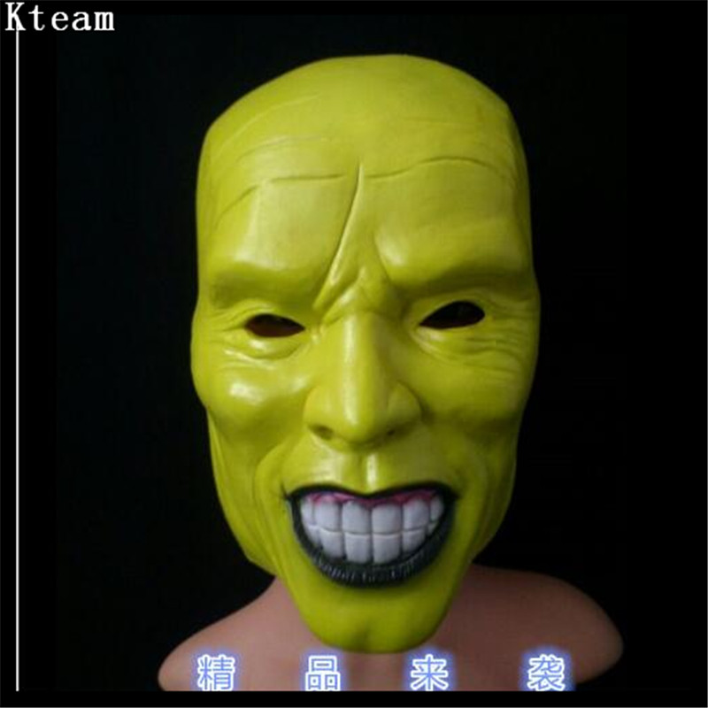 Top Grade 100% Latex Famous Movie The Mask Jim Carrey Masks Halloween Adult Latex Mask Movie Cosplay Toy Props Party Fancy Dress image