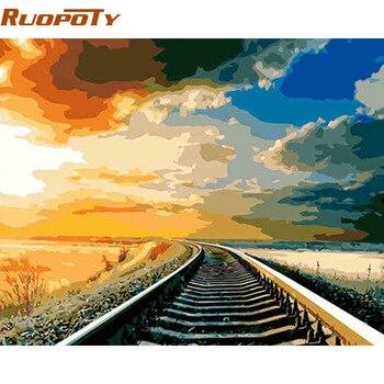 Quadro RUOPOTY Ferroviária Paisagem Pintada À Mão Pintura A Óleo Pintura DIY Por Número Exclusivo Para A Decoração Da Casa Caixa de Enviar 40x50 cm Arte