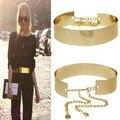 72 cm Mujeres Cummerbund Chica de Metal Placa de Oro Espejo Cinturón Fino con Cadenas de La Pretina Ancha Vestido Banda Cinturón HO671420