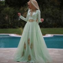 Arabic Fashion Robe Dubai Abaya Maxi Women Hijab Evening Dress For Muslim Gold Applique Mint Tulle Party Long Dress