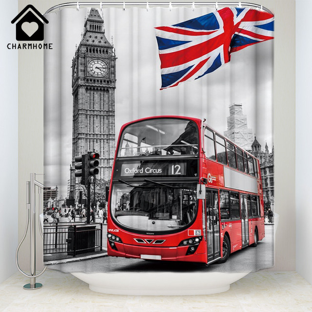 CHARMHOME Custom Big Ben Tower Bus British Flag Shower Curtain Waterproof Fabric Polyester Vintage Curtains