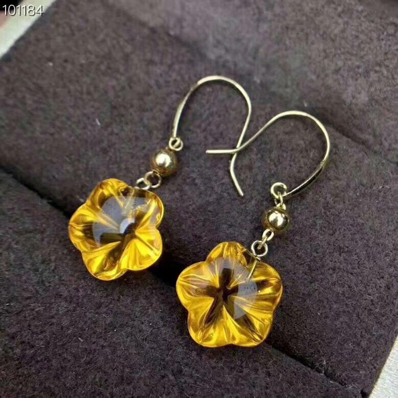 shilovem 925 sterling silver Piezoelectric citrine drop earrings fine Jewelry women trendy wedding gift 10 10mm