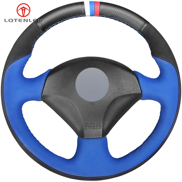 LQTENLEO Black Leather Black Blue Suede Steering Wheel