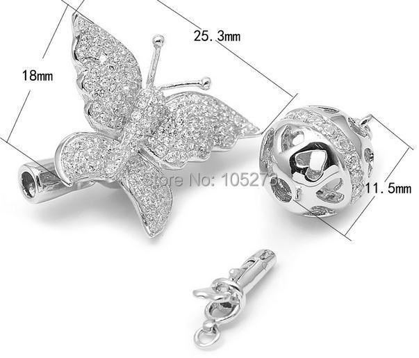 Combinaison multifonction papillon, 925 argent bricolage collier en cristal de perle naturelle de haute qualité, fermoir bracelet. -L58