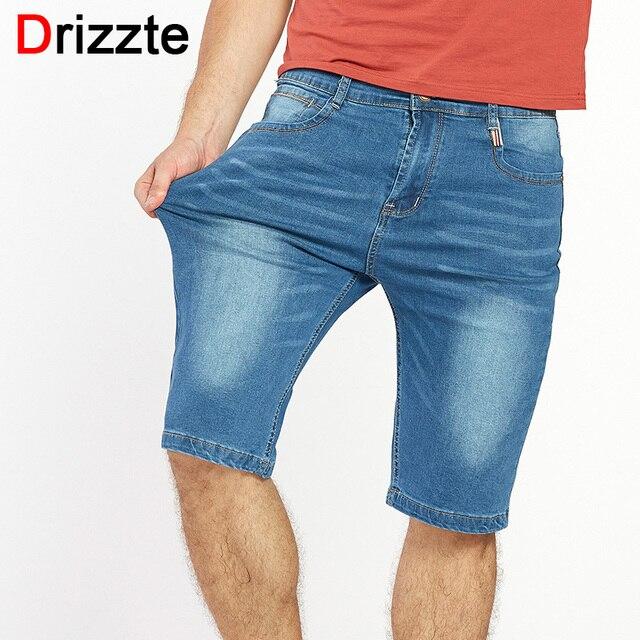 Korte Jeans Broek Heren.Drizzte Merk Heren Lichtgewicht Stretch Denim Jean Shorts Blauw