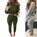 Side Eyelet Up Slash Neck Long Sleeve Sexy Jumpsuits Autumn Fashion Bodycon Rompers Women Jumpsuit Black Overalls Crop Top Set