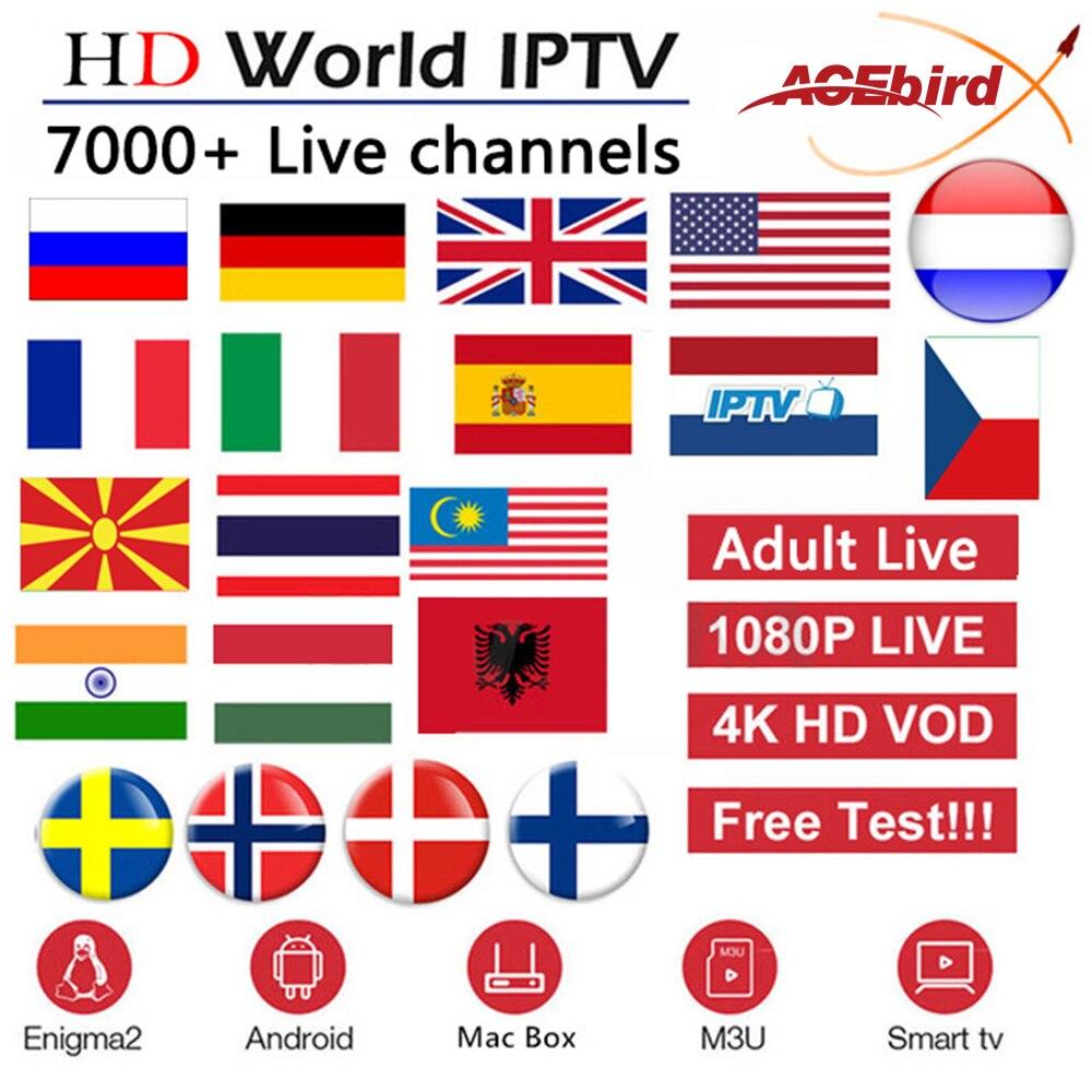 US $13 5 10% OFF|Acebird IPTV Subscription France UK Netherlands Spanish  Sweden Albanian Czech US Adult 7200 Live For Smart TV M3U Enigma2 Mag25X-in
