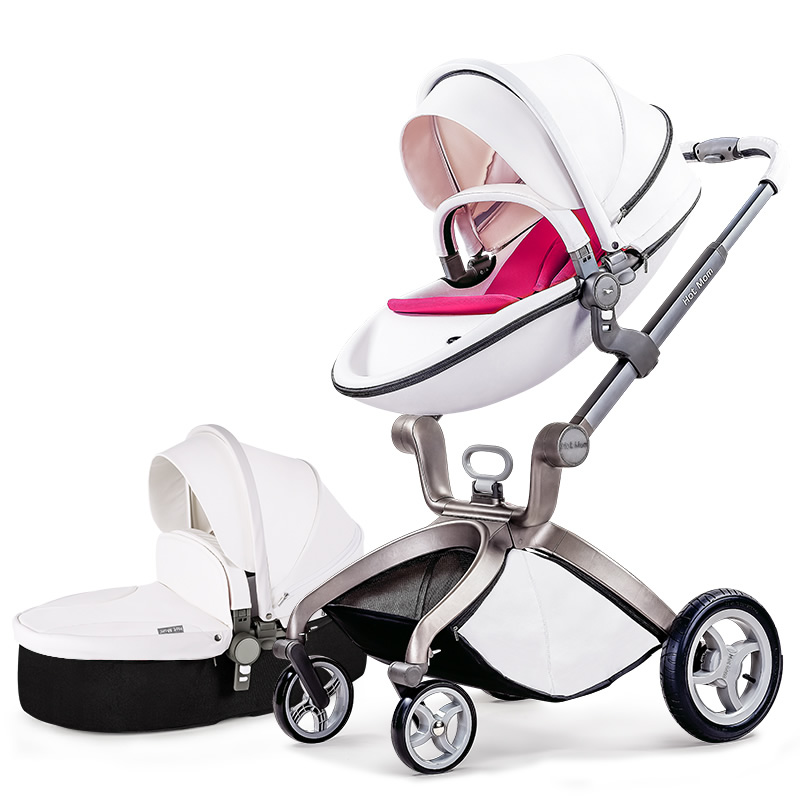 Hot mum brand baby strollers 2 in 1 baby car high quality with baby sleeping basket and car seat 3 colors send cushion free original hot mum baby strollers 2 in 1 bb car folding light baby carriage six free gifts send rain cover