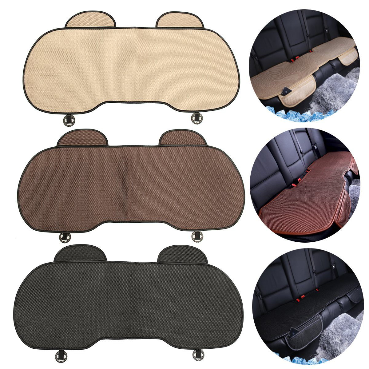 Cover-Mat Cushion Seat-Protector Car-Back-Seat Universal Black Pad Coffee Ice-Silk Beige