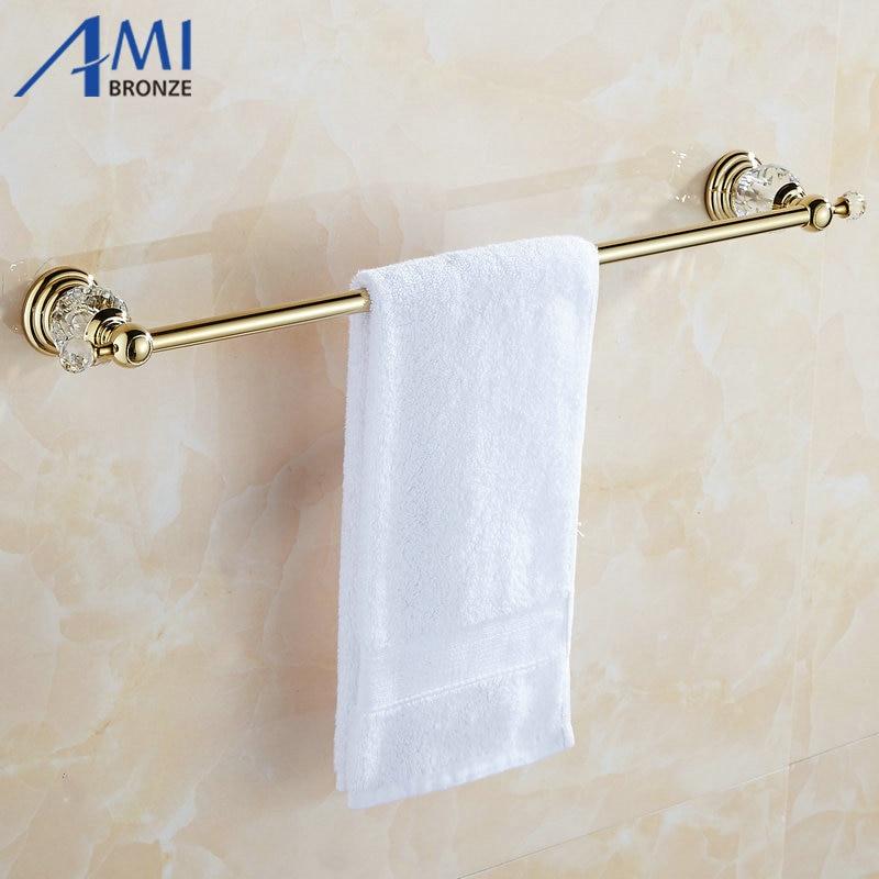 61 Crystal Series Golden Polish Copper Singel Towel Bar Bathroom Accessories Sanitary Wares Towel Rack Towel Shelf 50CM sanitary ware ffcf6588 towel bar bathroom accessories metal pendant