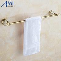 61 Crystal Series Golden Polish Copper Singel Towel Bar Bathroom Accessories Sanitary Wares Towel Rack Towel Shelf 50CM