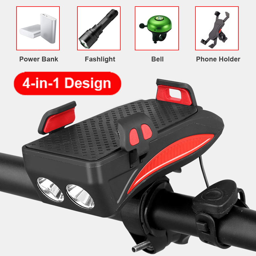 Excellent NEWBOLER 4 in 1 Bicycle Light Power Bank 4000mAh Flashlight Bike Horn Alarm Bell Phone Holder Bike Accessories Cycle Front Light 1