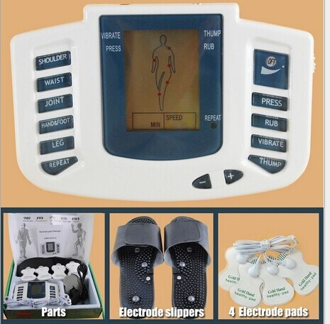 Hot new Electrical Stimulator Full Body Relax Muscle Therapy Massager,Pulse tens Acupuncture with therapy slipper+ 8 pads electrical stimulator muscle massager slipper electrode pads body relax pulse tens acupuncture therapy digital machine