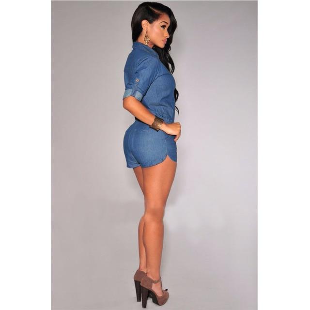 2017 Denim Sexy Rompers Club Short  Womens Slim Jeans Jumpsuit Playsuit  Hot Sale Fashion Bodysuit Plus Size KH666655