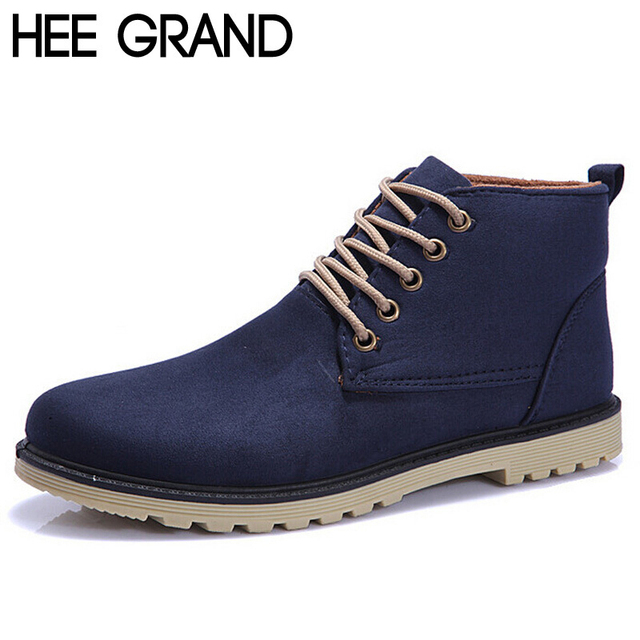 HEE GRAND Brand 2017 Fashion Men Winter Shoes Lace up Ankle Boots ... 0e7338913861
