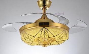42 inch 108 cm 3 kleur dimmen contro k9 kristal plafond ventilator licht eenvoudige huishoudelijke slaapkamer woonkamer 85-265 v