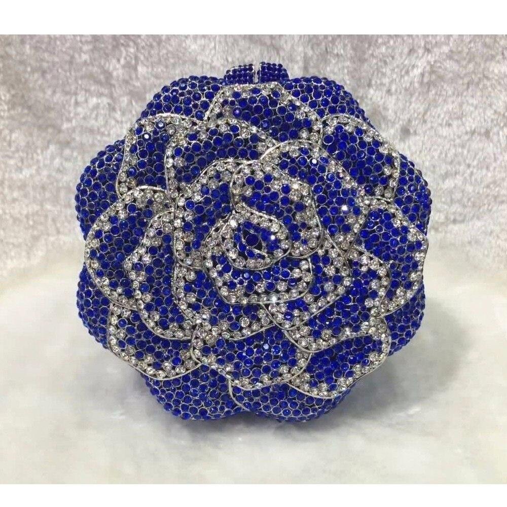 ФОТО 5019BL Blue crystal ROSE Floral Flower Wedding Bridal Party Night hollow Metal Evening purse clutch bag case box handbag
