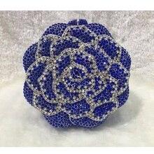 5019BL синий хрустальная роза цветочные цветочные свадебные ну вечеринку полый металлический вечер кошелек клатч чехол сумочка