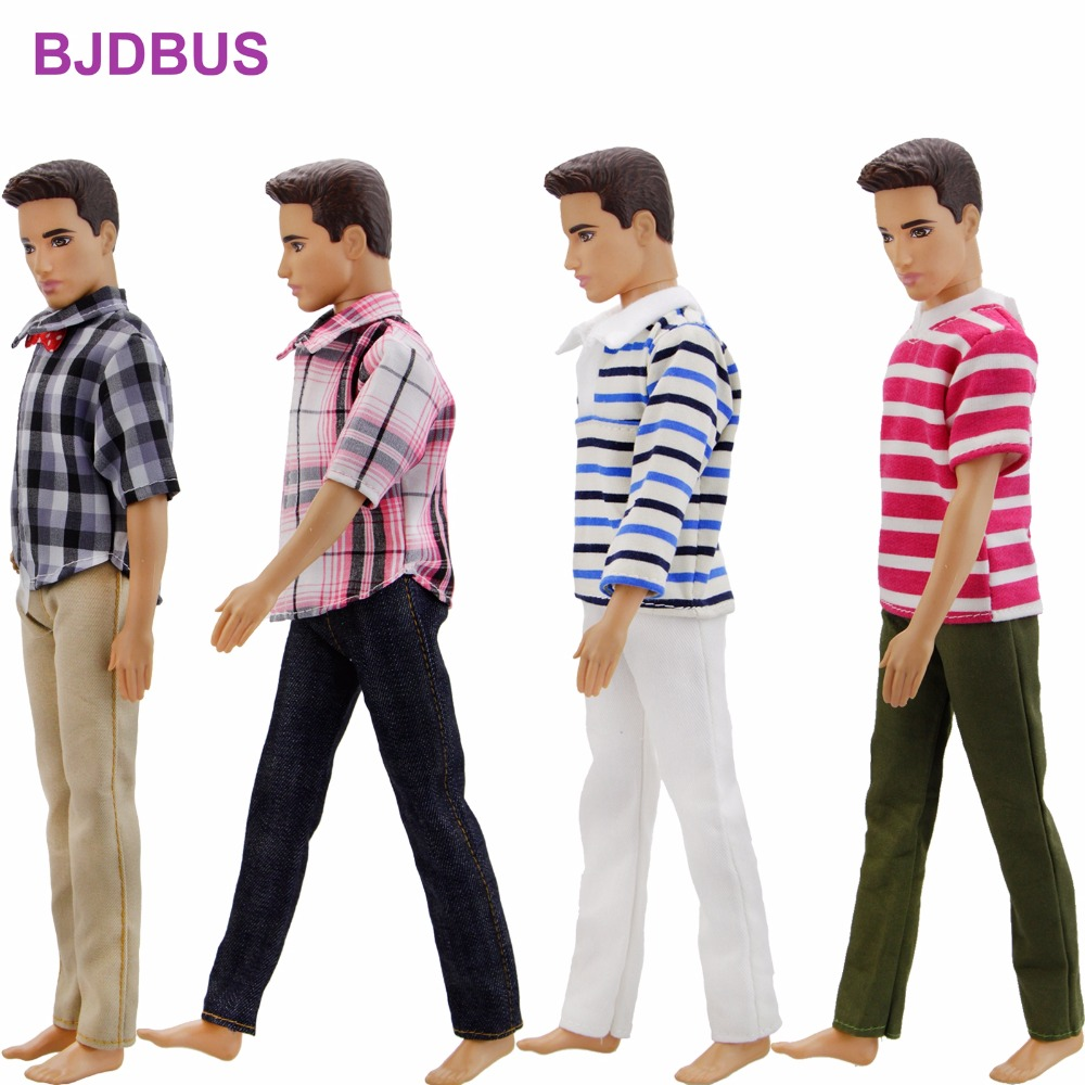 4 Pcs / Lot Men Outfits Mixed Style Prince Casual Wear Stripe Blouse Plaid Shirt Trousers Clothes For Ken Doll Accessories Gift 30 new styles festival gifts top trousers lifestyle suit casual clothes trousers for barbie doll 1 6 bbi00636