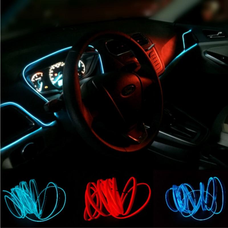 JURUS Car Styling 3meters Flexible Neon Strip Car Interior Lights Trim El Cold Light 12v Inverter Free Shipping New Arrival