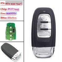 Frete grátis (1 peças) 868 mhz chave de controle Remoto Chave inteligente 3 botão fit para Audi A4/S4/A5/S5/Q5 8T0 959 754C/8K0 959 754C|Sensor e detector|Segurança e Proteção -
