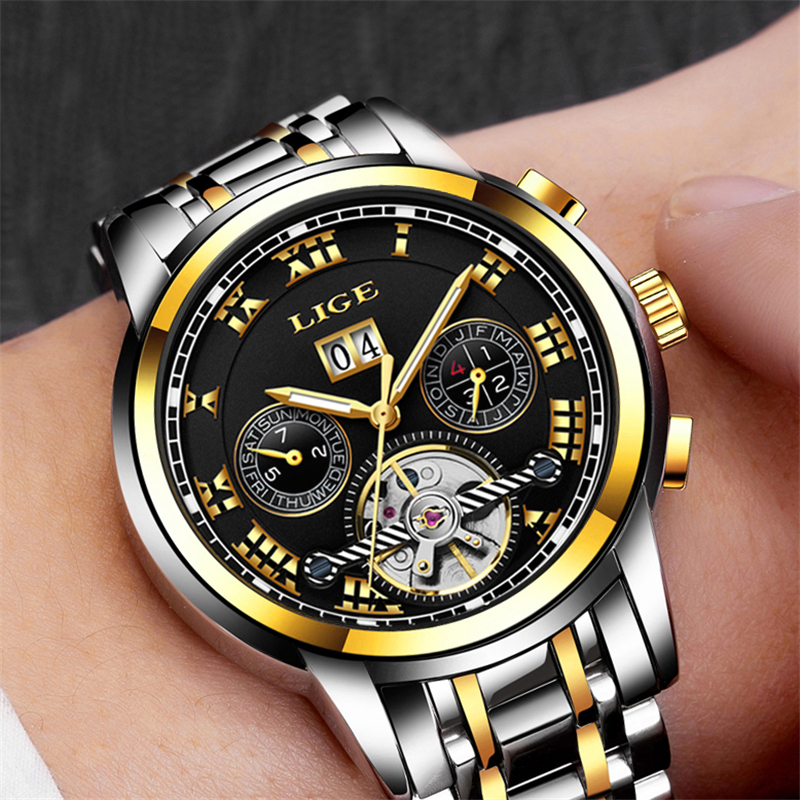 LIGE watches man Top Brand Luxury Mens Fashion Business watch for man Tourbillon Automatic mechanical watches Relogio MasculinoLIGE watches man Top Brand Luxury Mens Fashion Business watch for man Tourbillon Automatic mechanical watches Relogio Masculino