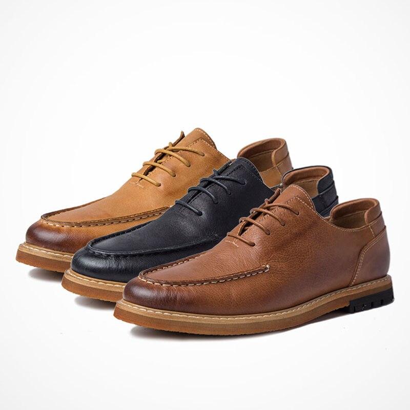 Hombres Calidad Los Otoño Negro Alta Para De Genuino chocolate Cuero Mocasines Vaca Y Primavera Natural Zapatos Piel Diseñador Negocios naranja Casual Hombre E0wtUqw