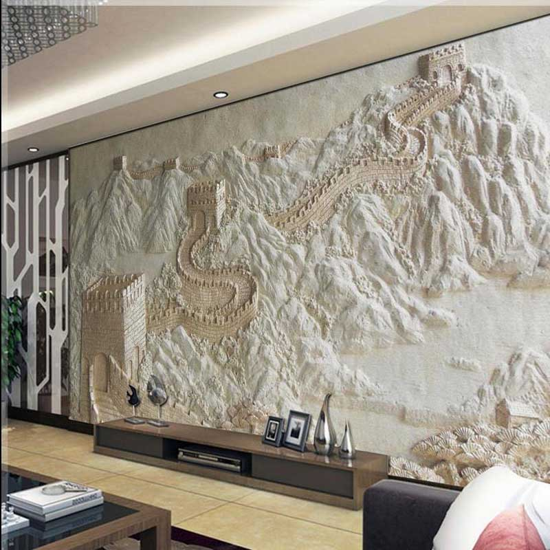 Wallpaper great wall sandstone 3d mural non woven bedroom for 3d mural wallpaper for bedroom