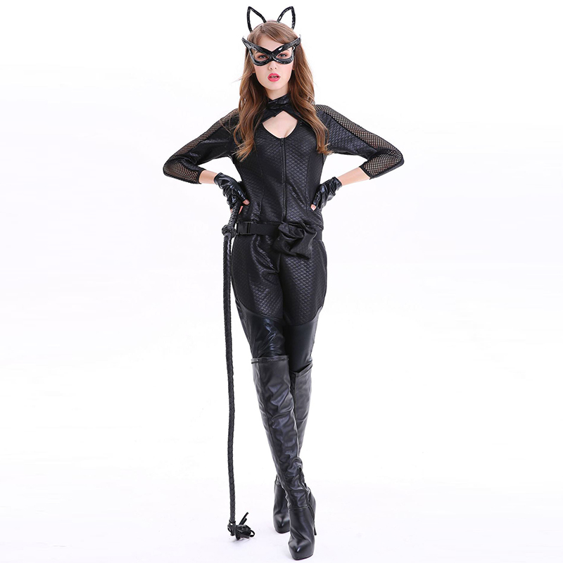 Black PU Leather & Fishnet Club Game <font><b>Catwoman</b></font> Cosplay <font><b>Costume</b></font> <font><b>Sexy</b></font> Catsuit Bodysuit Women Animal Outfit Adult Halloween <font><b>Costumes</b></font> image