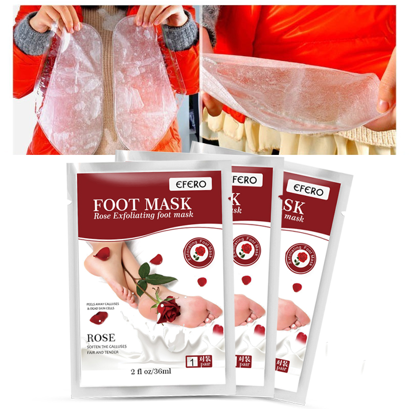 1Pair Exfoliating Foot Peel Mask Baby Feet Remove Callus Hard Dead Skin Natural Rose Formula Pedicure Socks Peeling Feet Mask