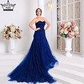 Real Photo de Lujo del Azul Real Vestidos de Noche de Borgoña Vestidos de Novia Robe De Mariage Rouge 2016