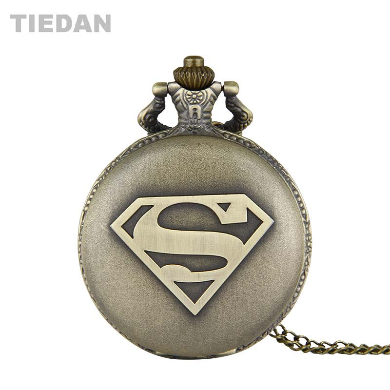 Hot Retro Quartz Pocket Horloges Super Man S Ontwerp Antieke Fob - Zakhorloge