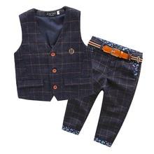 2016 autumn new children England style baby boys clothes set plaid kids vest pants boy tuxedo