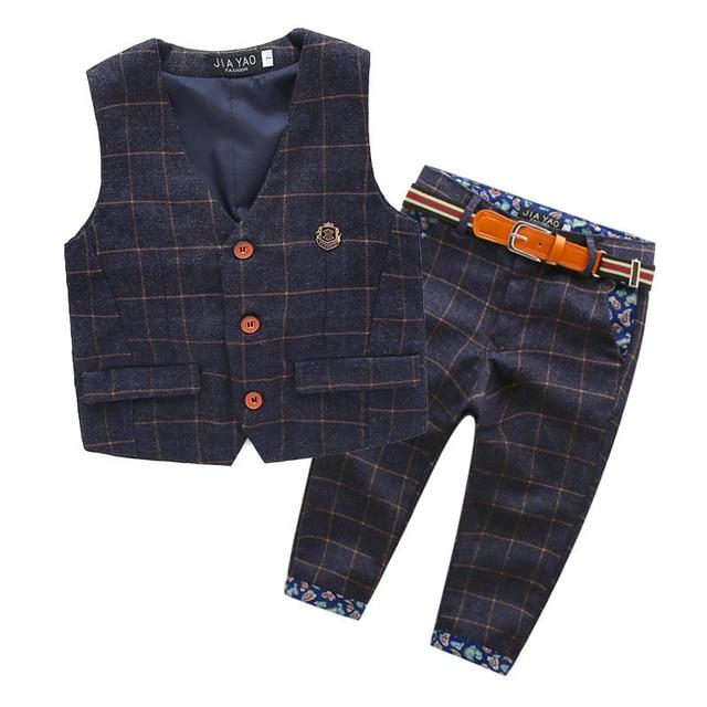 2016 autumn new children England style baby boys clothes set plaid kids vest+pants boy tuxedo suit for webbing child clothing