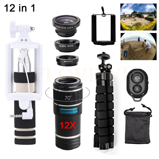 Lentes de telefone 12in1 kit 12x zoom telefoto lentes telescópio + tripé + monopé + grande angular macro lente olho de peixe para iphone samsung sony