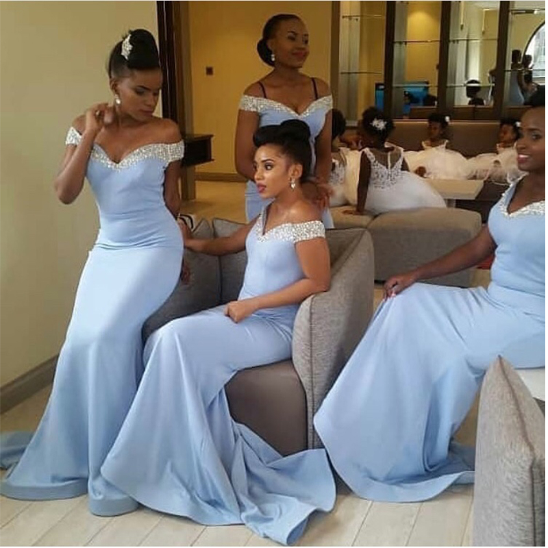 Light Sky Blue African Bridesmaid Dresses Off Shoulder Long Mermaid Robe De Soiree Sequins Neckline Women Wedding Party Dresses