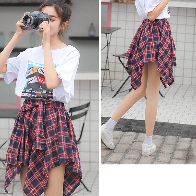 Retro Irregular Plaid Lady Skirt Harajuku Fashion Women Skirt College Wind Sweet Bow Decoration High Waist Skirt