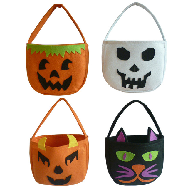 1pc Foldable Candy Smile Pumpkin Bag Folding Personality Gift Basket Wacky Expressions Treat Or