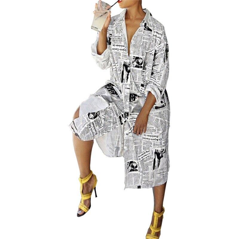 Новый длинный дизайн женские платья с газетным принтом с длинным рукавом с отложным воротником женские блузки рубашки платья