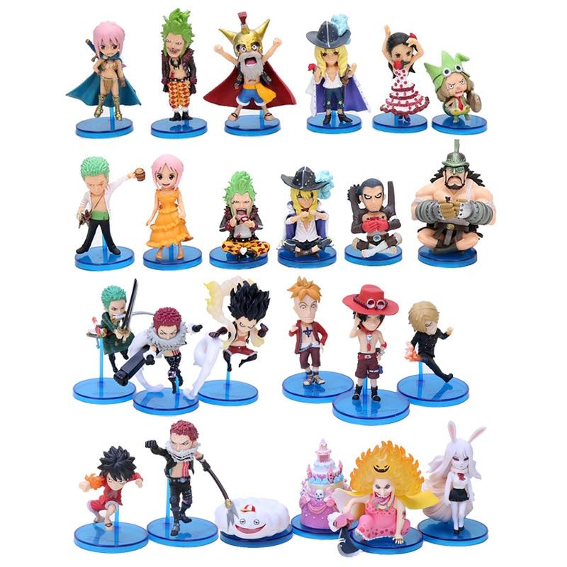 24pcs One Piece WCF Mugiwara Luffy The Straw Hat Pirates Luffy Ace Robin Charlotte Katakuri Figure Figurine Toys Brinquedos Toys