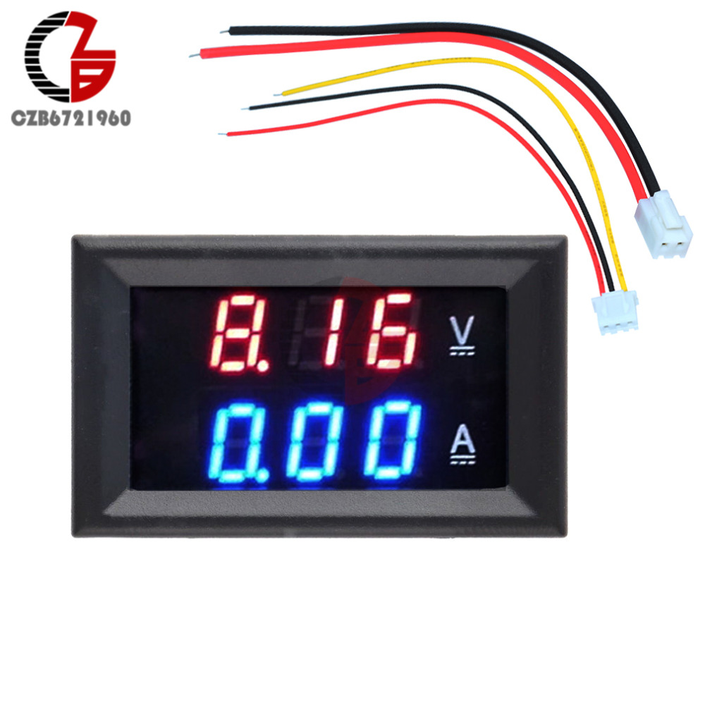 Mini LED Digital Ammeter Voltmeter DC 100V 10A Panel Amp Volt Detector Voltage Current Meter Tester 0.56 Blue Red Dual Display dc 0 100v 10a digital voltmeter ammeter led dual display voltage current indicator monitor detector dc amp volt meter
