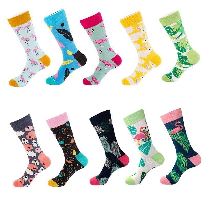 10 Colors Men/'s Fashion Dress Socks Cotton Colorful Wedding Mens Socks Novelty Plant Flamingo Series Soks Happy Funny Calcetines